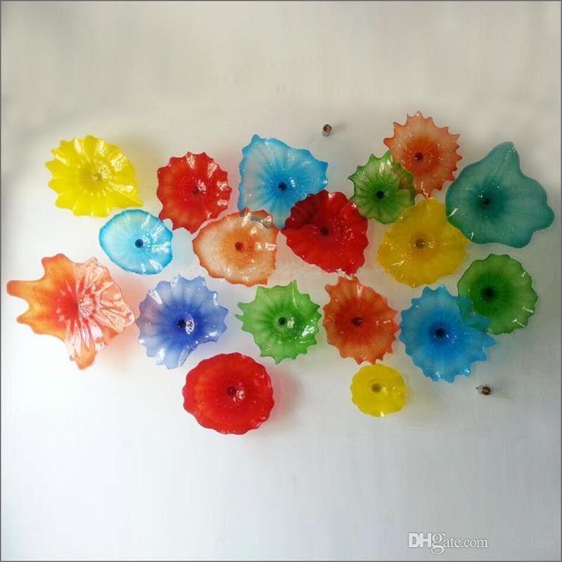 Средиземное море ручной работы выдувное стекло цветочные тарелки для украшения стен стиль Чихули многоцветные муранские стеклянные подвесные тарелки настенные тарелки
