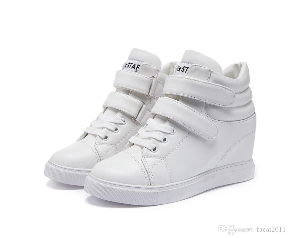 Korean Women  Casual Sneakers High Heel Wedge Lace up Shoes White Sports mgic