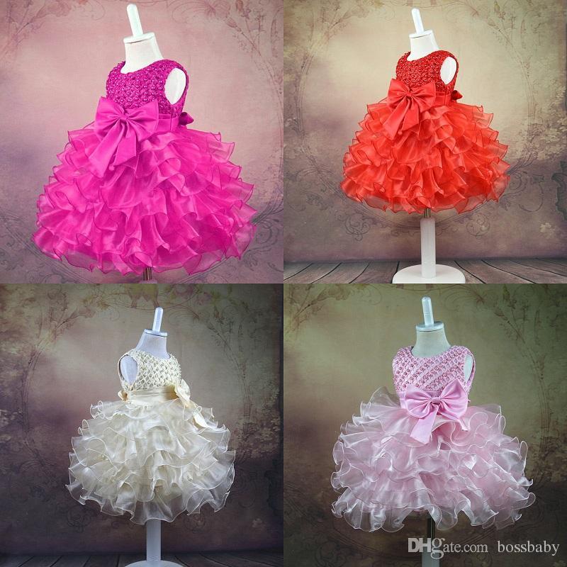 Kız Prenses Elbise 6 Tasarım Yay Kanat Inci Tutu Elbiseler Bebek Kız Elbiseler Kızlar Yelek Balo Elbise Çiçek Kız Giyim 0-24 M 07