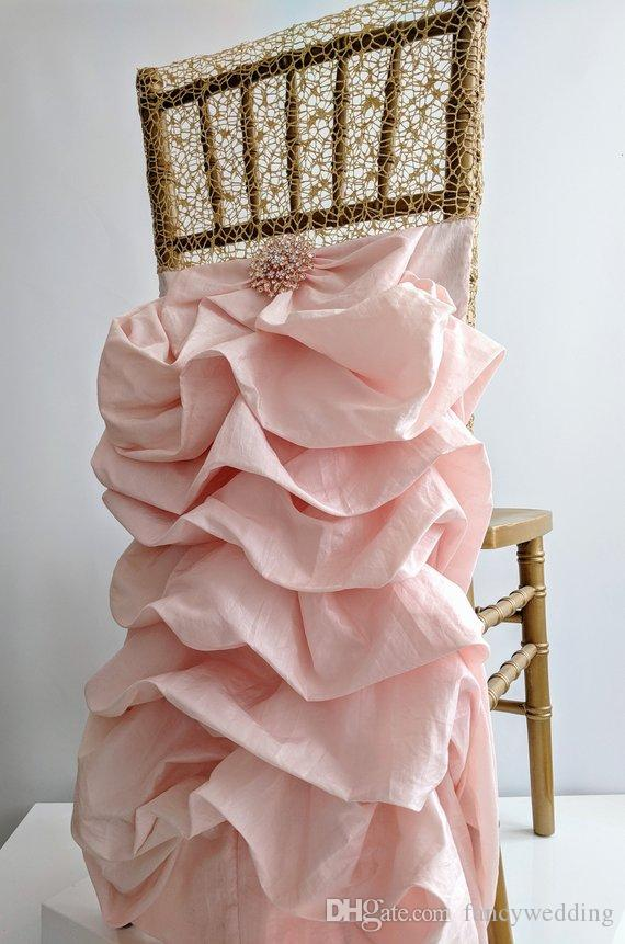 Custom Made Lace Taffeta Crystals Wedding Chair Covers Beautiful Cheap Wedding Party Decorations Vintage Chair Sashes Supplies C05