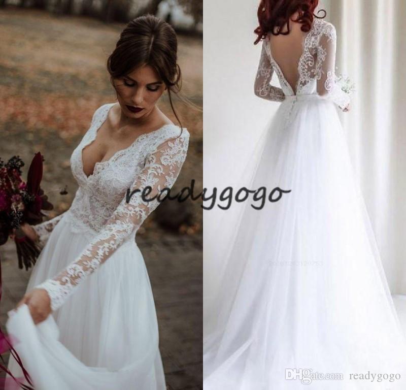 Vestidos de novia de manga larga Vestidos de novia de encaje de tul sin espalda Vestidos largos Novia V-cuello por encargo 2019 A-line
