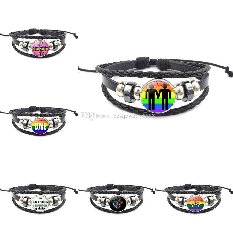 12 Design LGBT Rainbow Sign Bracelets For Men Women 18MM Ginger Snap Button Charm Leather Rope Bangle Gay Pride Friendship Jewelry Gift