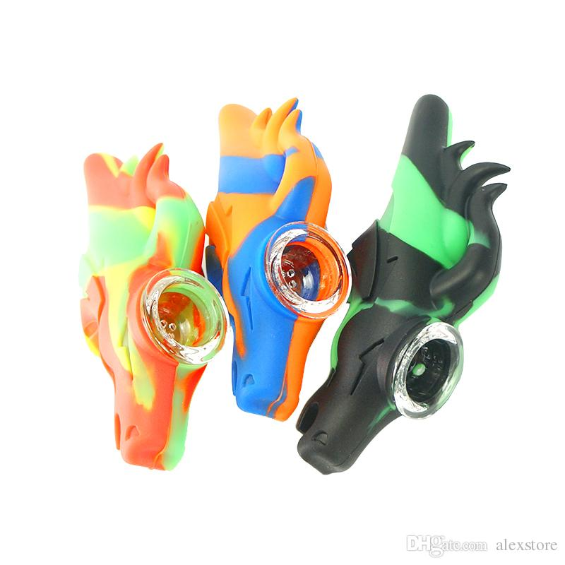 Wild Horse shape silicone hand pipes water bongs oil rig kit dab rig smoking percolator bubbler tobacco pipes glass bowl DHL