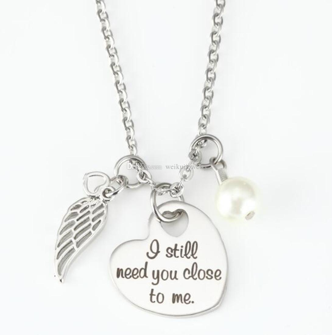Acero inoxidable Cremación Jewelr Memorial Ash Todavía te necesito cerca de mí Piedra de nacimiento y Regalo de encanto de alas de ángel