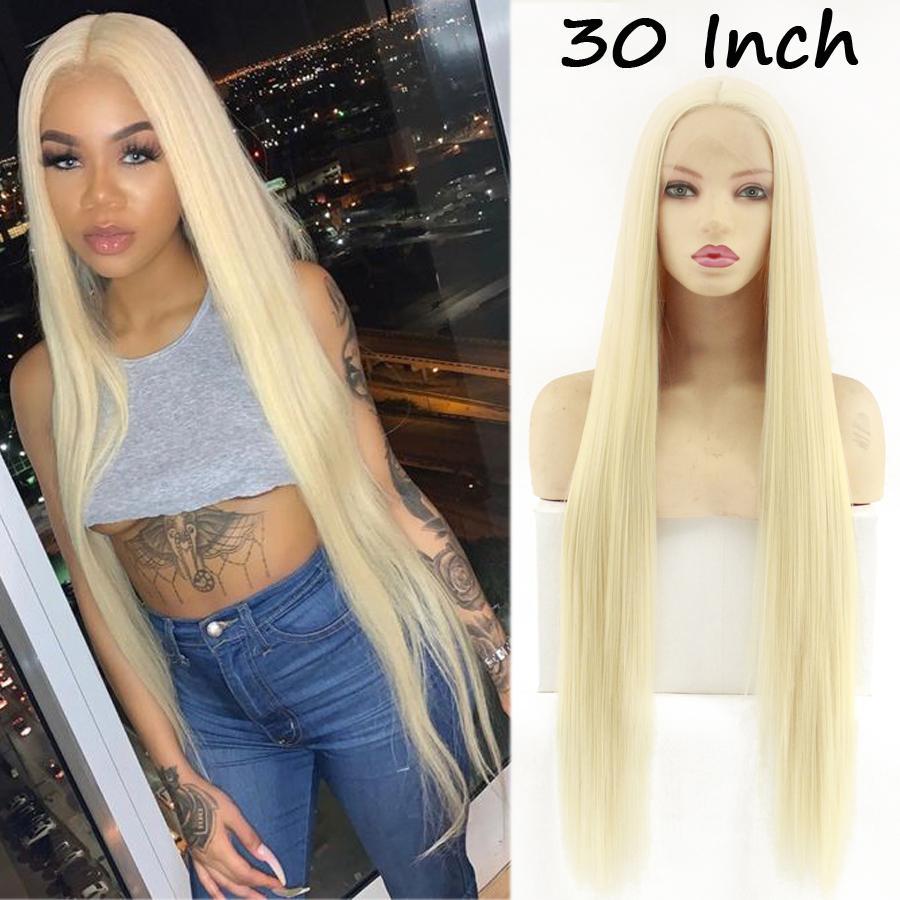 Lungo rettilineo sintetico anteriore del merletto parrucca glueless Restyleable capelli sintetici parrucche per le donne di colore rosa Borgogna Verde Blu Arancio 1B # 613 Blonde Wig