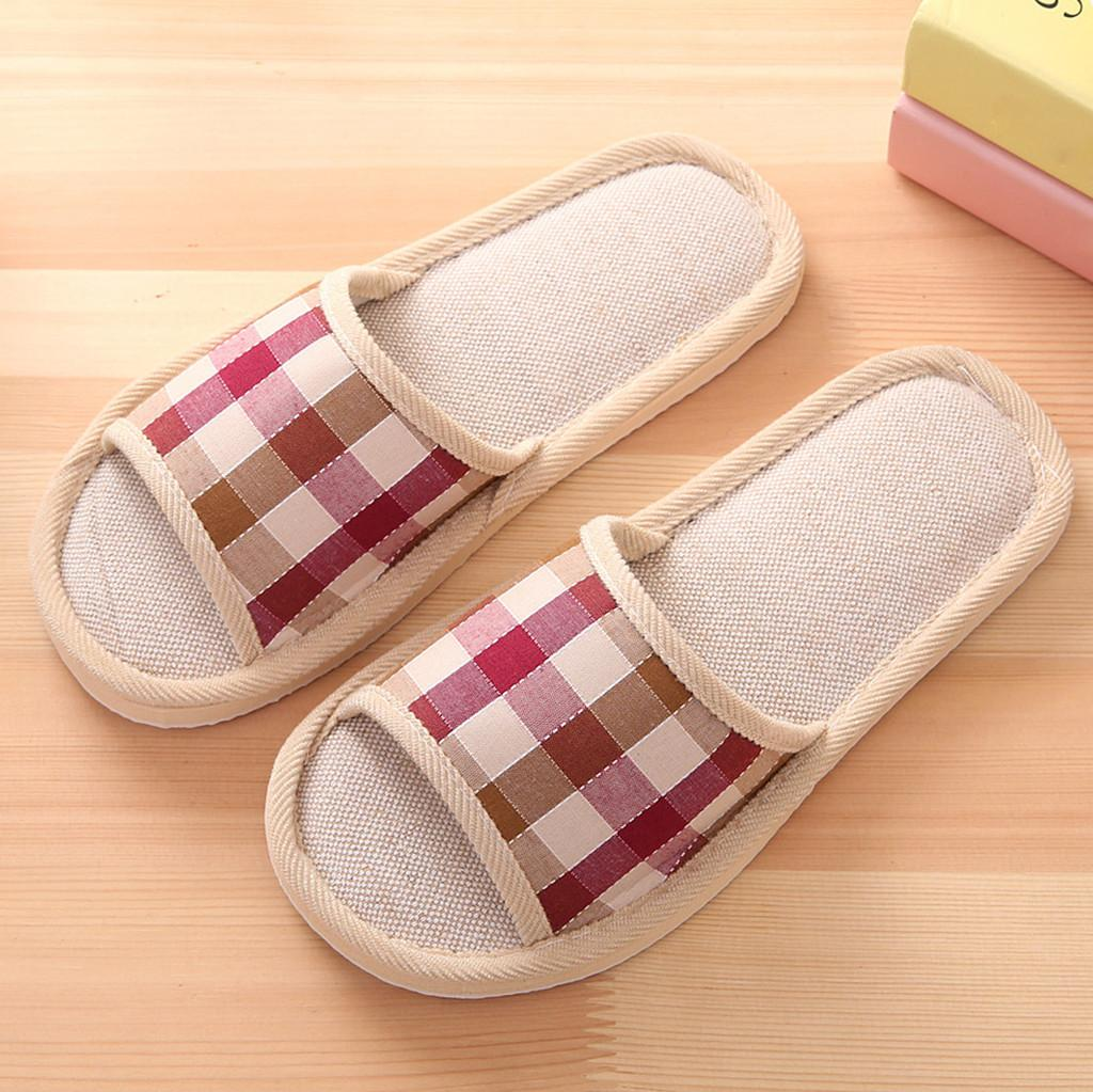 Women's Fashion Casual Couples Gingham Home Slippers Indoor Floor Flat Shoes