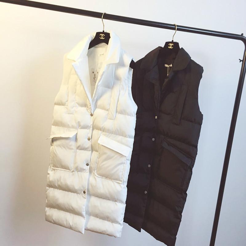 Nueva moda 2019 solo pecho invierno de las mujeres sin mangas de la chaqueta del chaleco Espesar las mujeres da vuelta-abajo chaleco largo Mujeres T200116