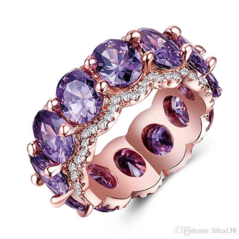 Zirkonia Rose Gold Farbe CZ Lila Blau Rot Grün Kristall Ringe Für Frauen Mädchen Mutter Geschenk Dropshipping Schmuck