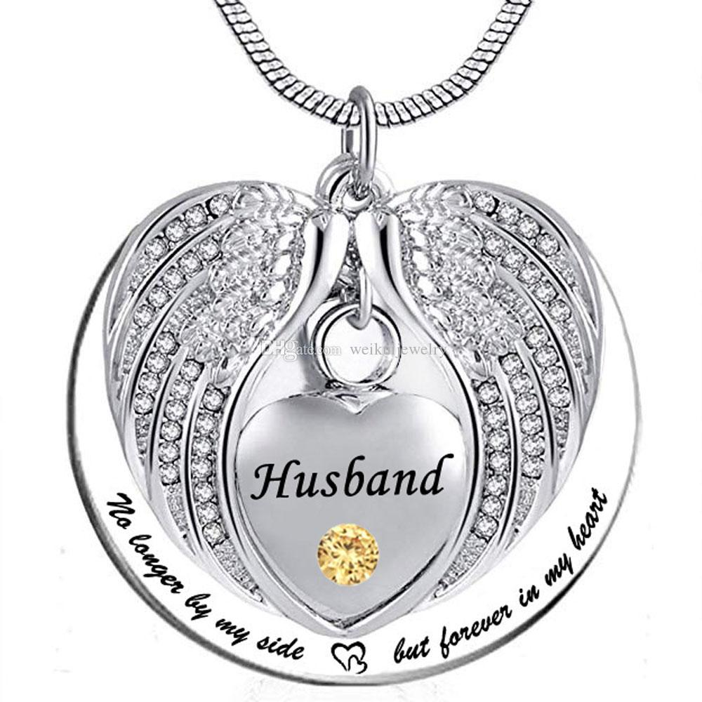 Unisex No Longer by My Side But Forever in My Heart Husband Cremation Ashes Urn Pendant Stainless Steel waterproof Necklace