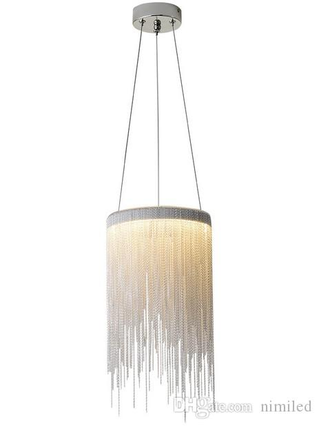 Lámpara colgante de aluminio post-moderno Novedad Cadenas de aluminio 12W LED LED Luz de Luz Comedor Sala de estar Dormitorio Luz Llfa