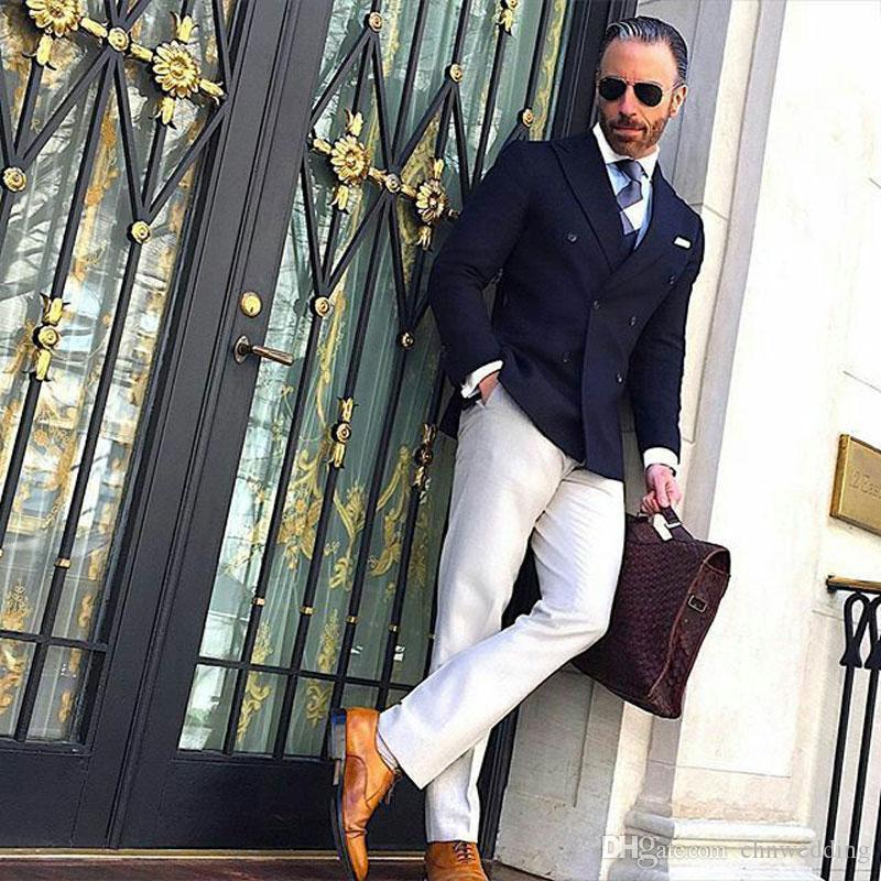 Tute blu scuro degli uomini di affari di cerimonia nuziale dello sposo smoking oversize uomo Blazer da promenade del partito Classic Terno Masculino Slim Fit Costume Homme 2Piece