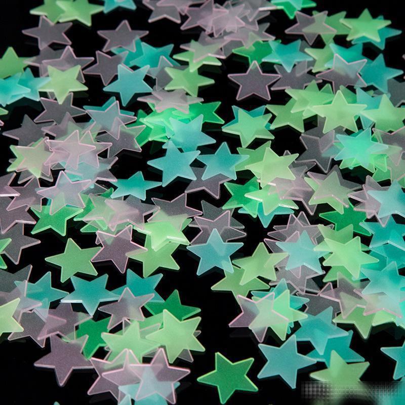 4 اللون 3CM ستار ملصقات الحائط ستيريو البلاستيك مضيئة نيون المقرب متوهجة في الظلام الشارات لغرفة الطفل B1
