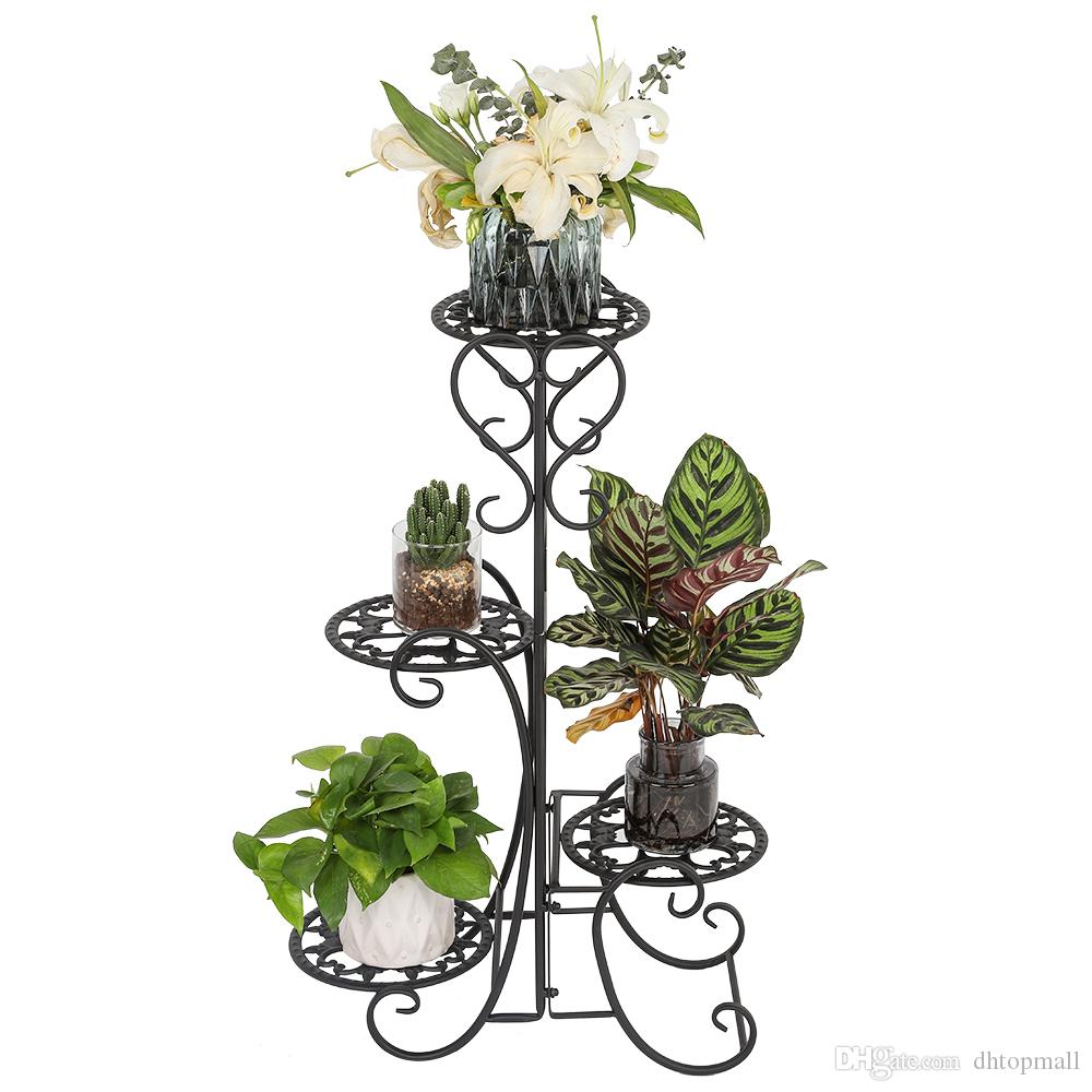 Nave da Stati Uniti d'America 4 ripiani Tier Piazza fiore del metallo Vaso da fiori stand di esposizione per Interni Esterni Giardino Nero