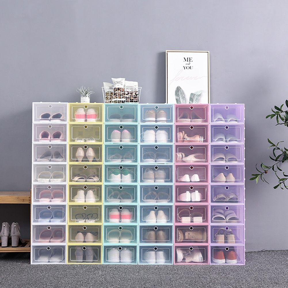 طوي مسح أحذية تخزين مربع من البلاستيك تكويم حذاء منظم سميكة شفاف درج حالة الرئيسية منظم الحذاء الرف 6 ألوان
