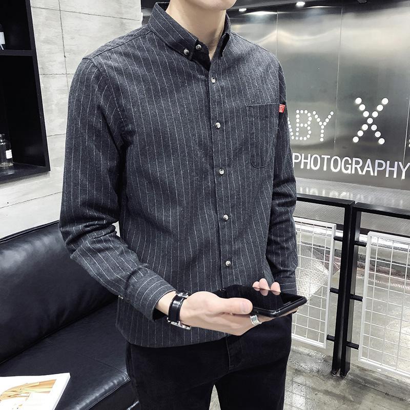 2019 Camisas de primavera y verano Camisa de manga larga delgada a rayas para hombres de moda Cómoda para negocios Ventilación formal