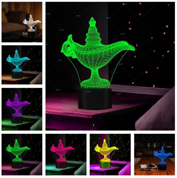 3D 알라딘 및 매직 램프 Led Night Light 분위기 환영 테이블 분위기 침실 거실 카페 바 몰 조명 어린이 크리스마스 선물