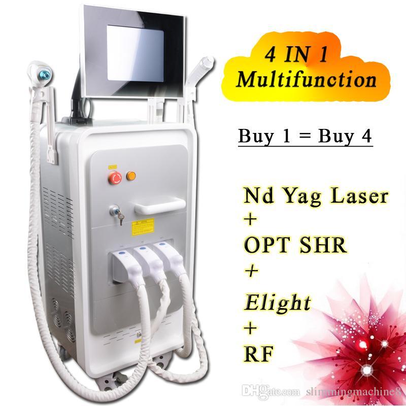 4 in 1 Elight + OPT SHR + RF + ND-Yag-Laser Schönheit Maschine SHR Haarentfernung Neueste multifunktionale Schönheit Ausrüstung