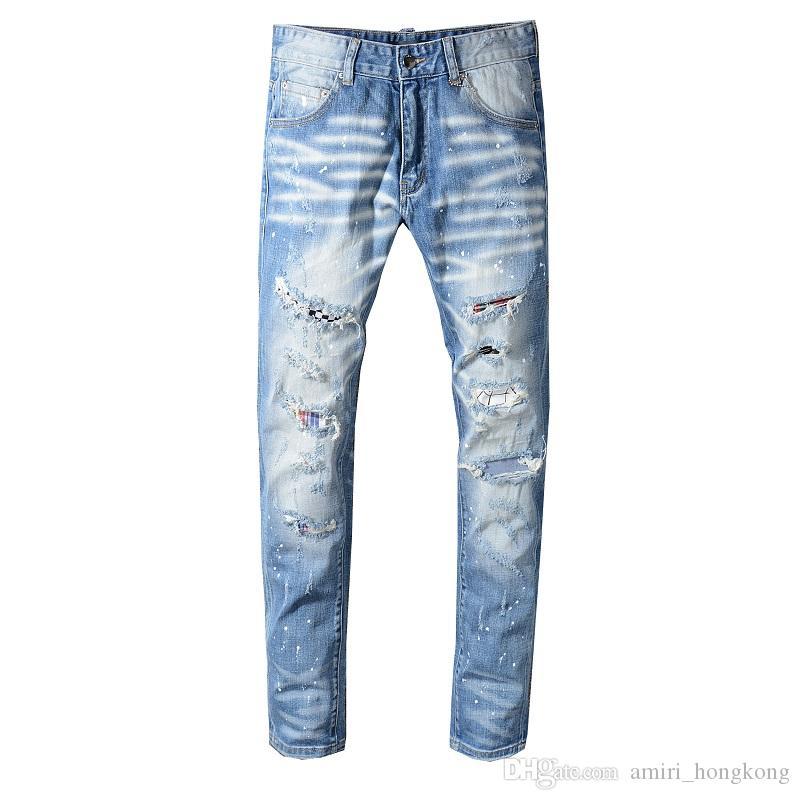 Nuevo estilo para hombre diseñador lápiz Jeans letra impresa pantalones de mezclilla blanco Club de la ropa para hombre envío gratis Hip Hop Skinny Jeans 1331