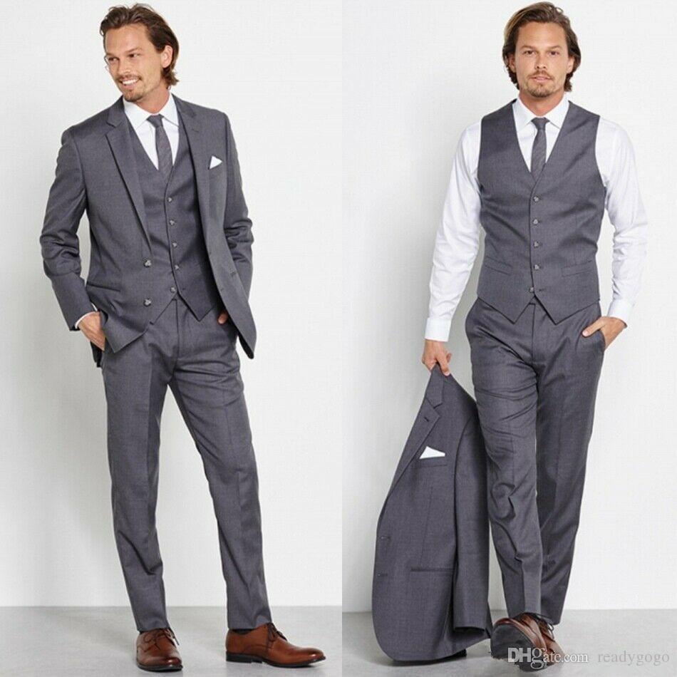 Trajes de 3 piezas grises clásicos para hombres Trajes de negocios formales 2 botones Esmoquin de oficina Esmoquin de boda delgado (chaqueta + pantalón) Ropa de novio