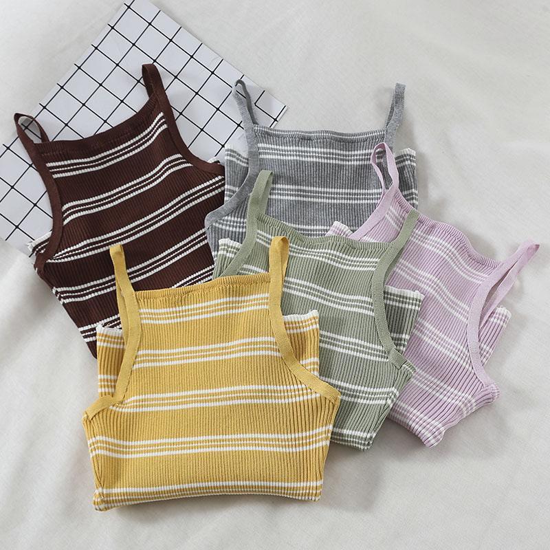 2019 nuove donne moda camis versatile auto-coltivazione a strisce color caramella moda casual maglia gilet femminile G317