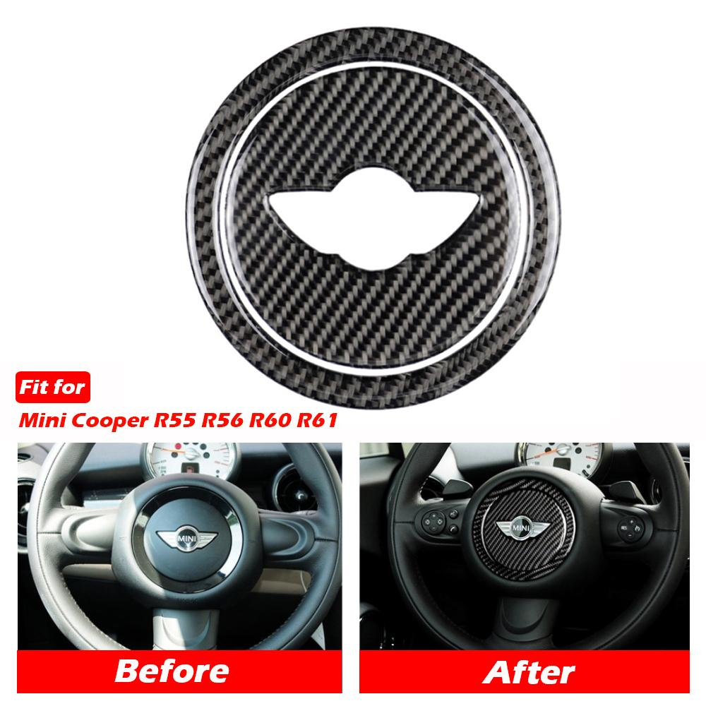 Direcção Kipalm Carbon Fiber adesivos de carro Tampa guarnição roda para Mini Cooper Clubman R55 R56 Countryman R60 paceman R61 Mini Adesivos