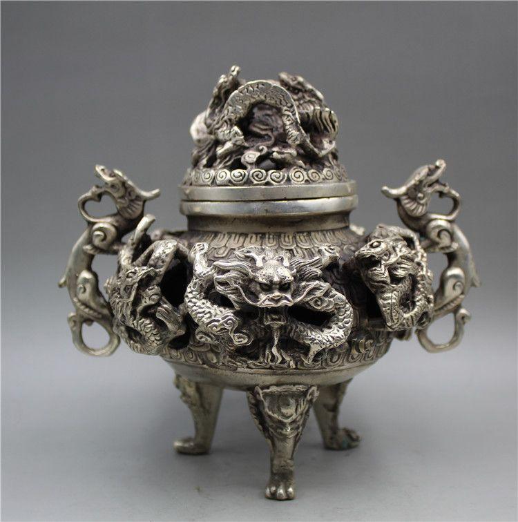 Chinois Tibétain Silver Main Sculpté 9 Brillard d'encens Dragon W Marks