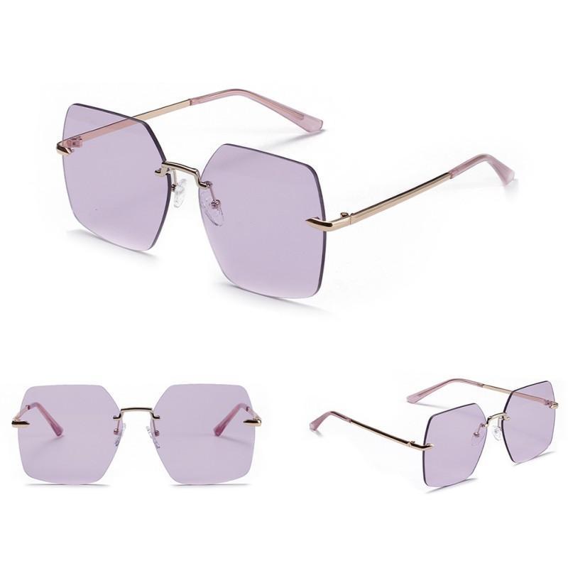 Sem aro Oval Moda Mulheres do Eyewear Quadrado Óculos populares Semi metal Retro Sunglasses New CH01