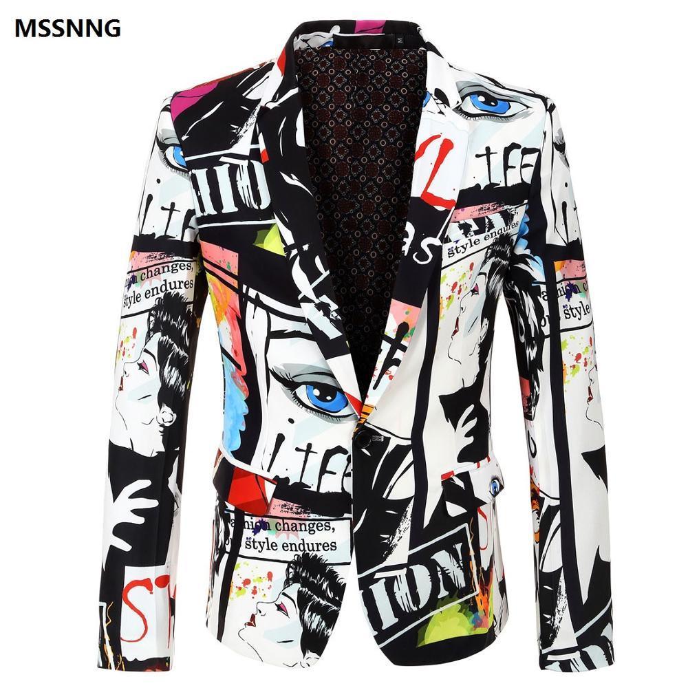 MSSNNG Marque 2018 Nouvelle Marée Mens De Mode Imprimé Blazer Design Plus La Taille Hip Chaud Occasionnel Mâle Slim Fit Costume Veste Costume Chanteur