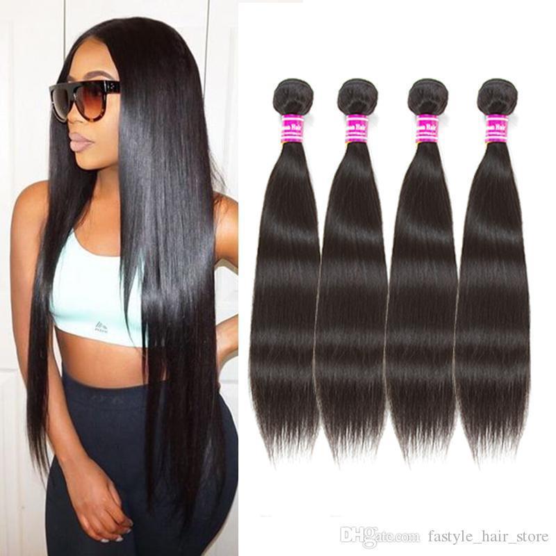 Raw Malaysian Virgin gerade Menschenhaar-Bundles Rohboden brasilianischen indischen peruanische Remy Menschenhaar Weaves Haar extenisons Großhandel