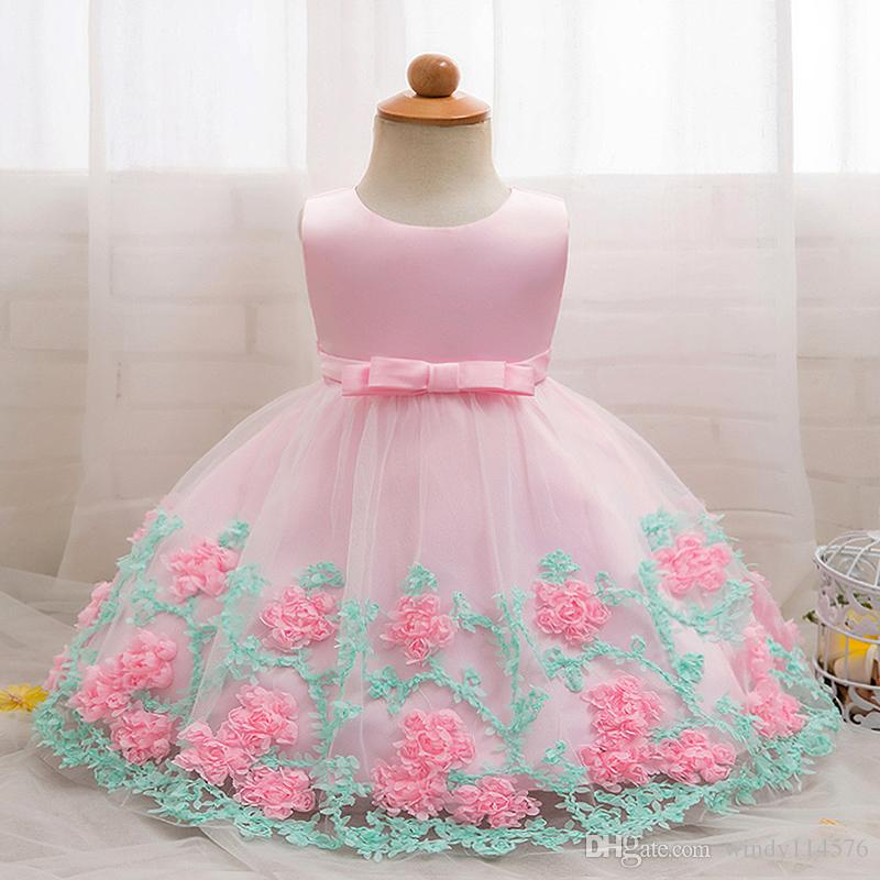 Floral Baby Girl Dress Baptism Dresses For Girls Princess 1st Year Birthday Party Wedding Christening Baby Infant Clothing XG170