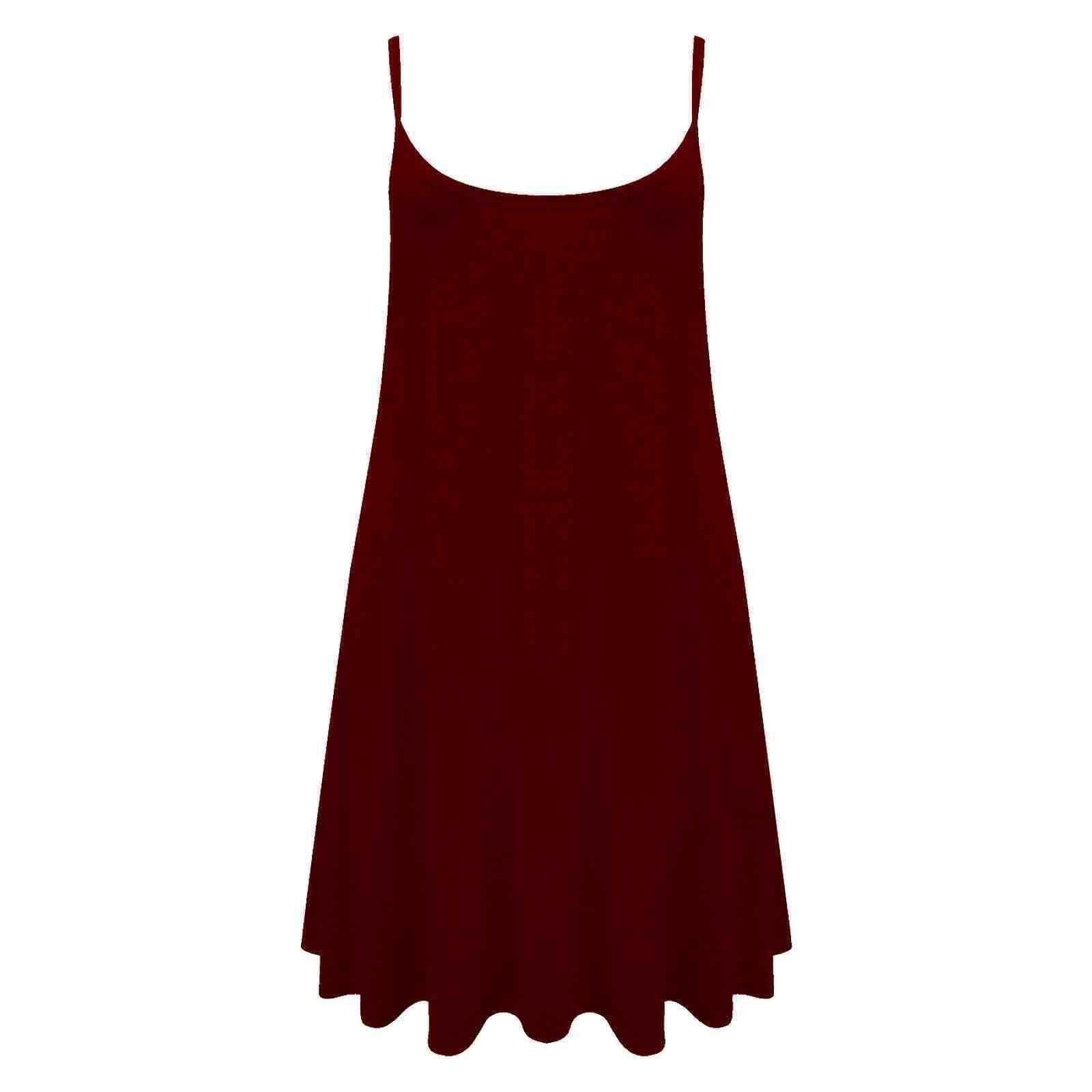 Women/'s Ladies Camisole Cami Flared Skater Strappy Vest Top Swing Mini Dress