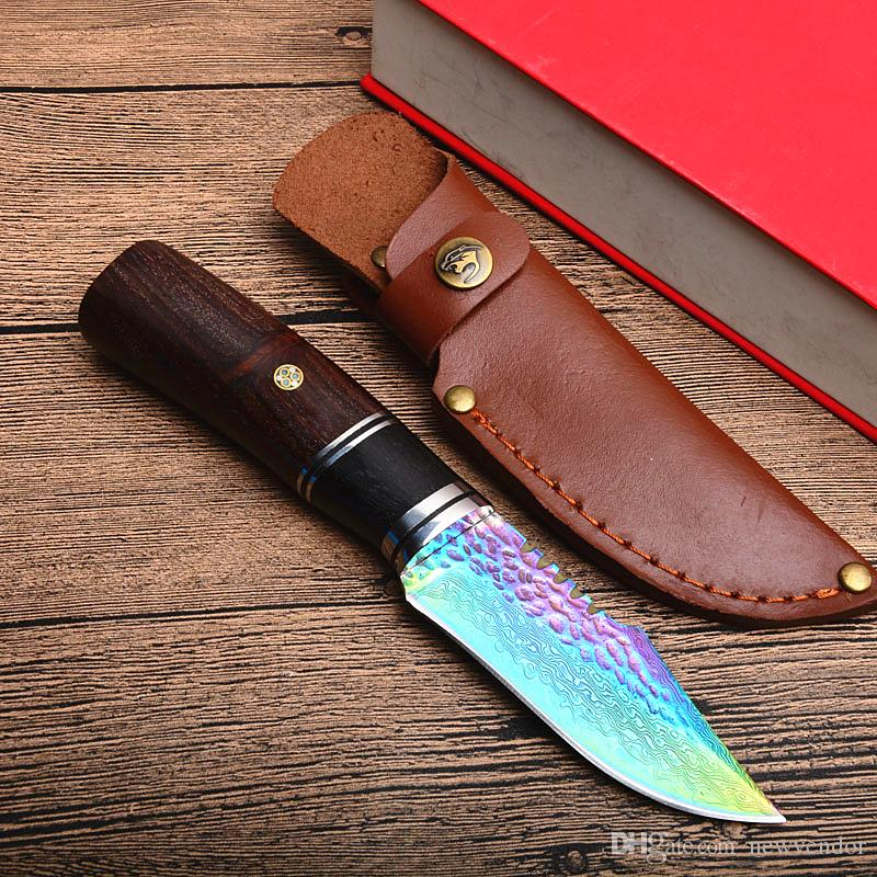 Special offer Damascus Hunting Knife Damascus Steel Colorful Titanium Coated Blade Wood Handle Outdoor Survival Straight Knives
