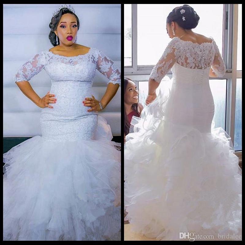 Robe De Mariage Robes de Mariée Plus Size 2020 Plus Size Tiered Robe de sirène Cascading Ruffles robes de mariée avec manches 1/2