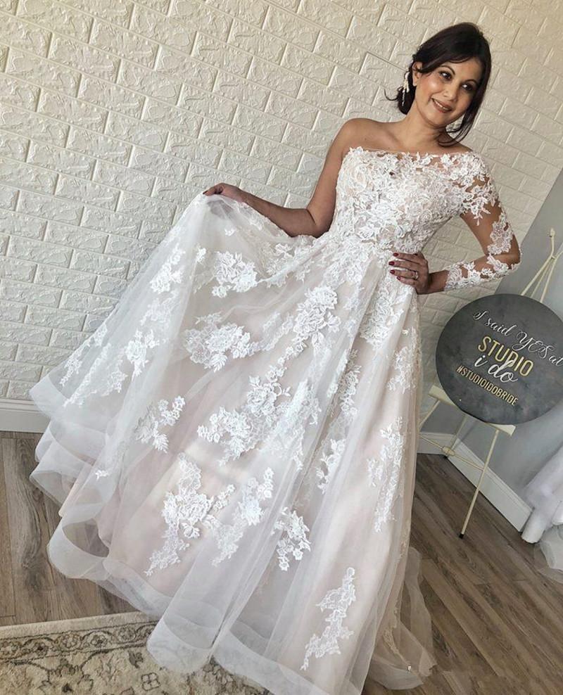 2020 Romantic eine Schulter Brautkleider lange Hülse Appliqued Brautkleider Saudi Arabisch Sweep Zug Spitze plus Größe anpassen Brautkleid