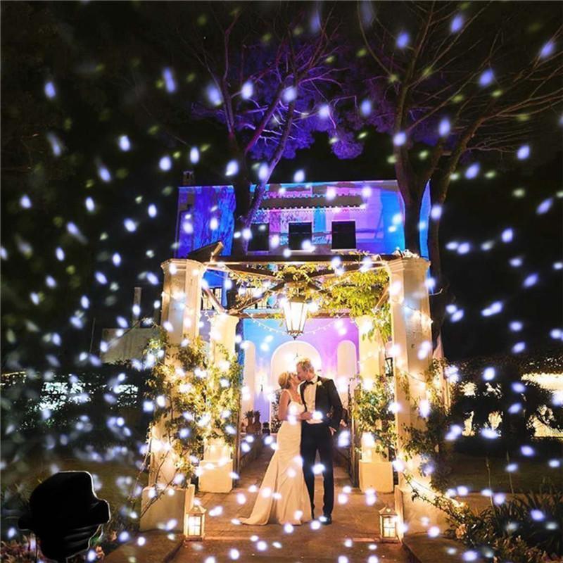 크리스마스 눈송이 레이저 프로젝터 야외 방수 LED 이동 눈이 정원 잔디 램프 장식 홈
