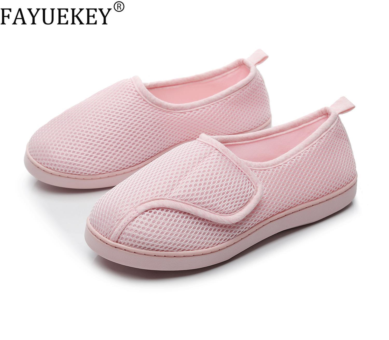 Chaussures Femmes Accueil doux Mesh respirant enceinte antiglisse diabétique arthrite Œdème Pantoufles pour Expectative maman extra large Y200424