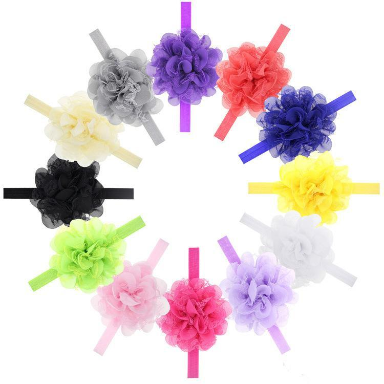 Baby Girls Chiffon Flower Lace Headbands for Childrens Hair Accessories Kid Elastic Hairbands Babies Headwear