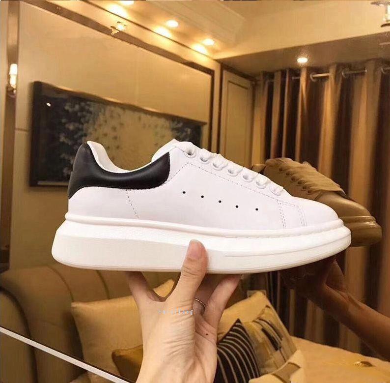 Zapatos de calidad superior del diseñador del cuero genuino de la zapatilla de deporte del cuero de lujo para hombre blanco Mujeres de moda Zapatos de plataforma Zapatos ocasionales planos
