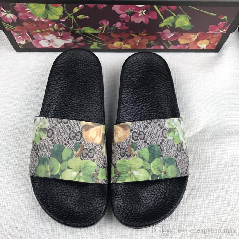 2019 Top Men Women Sandals with Correct Flower Box Dust Bag Designer Shoes snake print Luxury Slide Summer Fashion Wide Flat Sandals Slipper