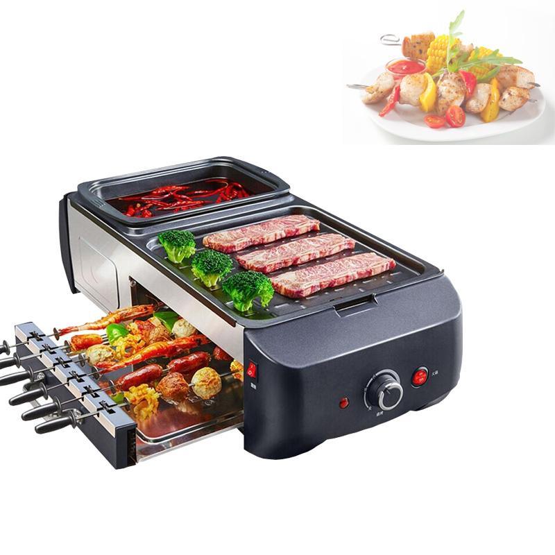 1800W Hogar Barbacoa eléctrica de la máquina multifuncional estilo coreano sin humo Parrilla Hot Pot barbacoa integrada Machine220V