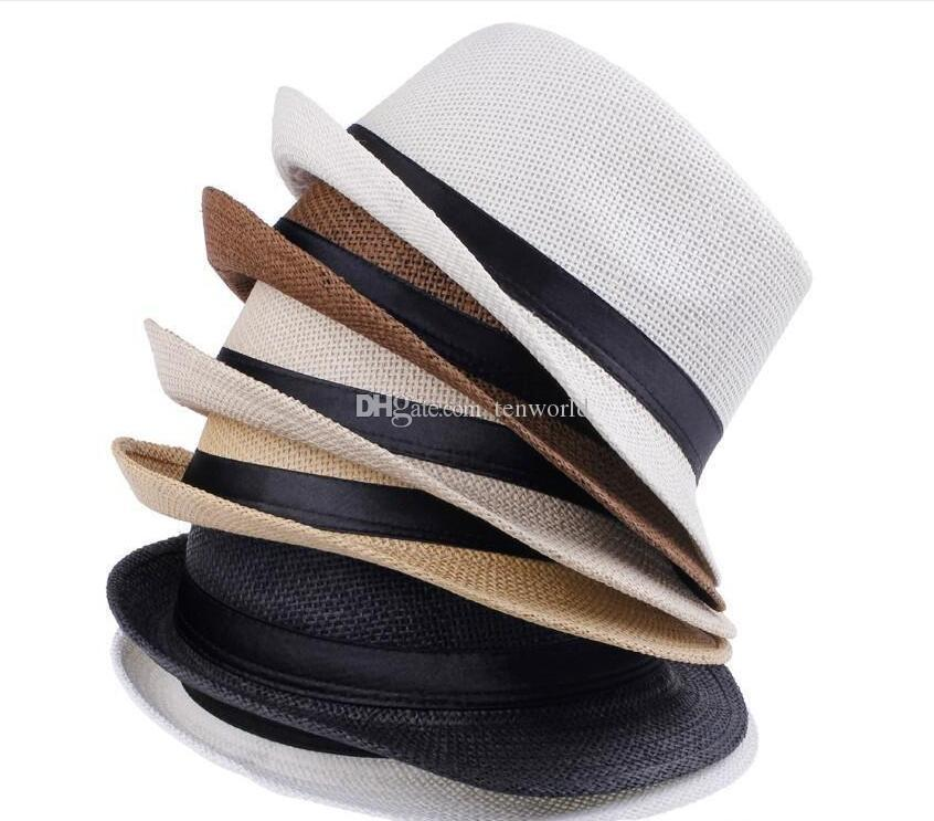 Chapeaux de mode pour femmes Fedora Trilby Gangster Cap Summer Sun Beach Straw Hat Panama avec ruban bande Sunhat