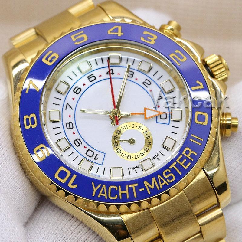 블루 디자이너 시계 44mm 2813 자동 운동 패션 럭셔리 기계 남성 스테인레스 스틸 시계 사파이어 유리 요트 손목 시계
