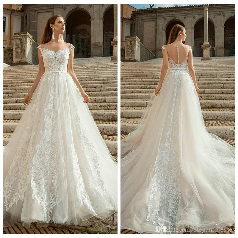 2019 Sheer Lace Appliques A-Line Wedding Dresses Bridal Gowns Formal Long Garden Cheap Vestidos De Marriage Customized Garden Bridal Gowns