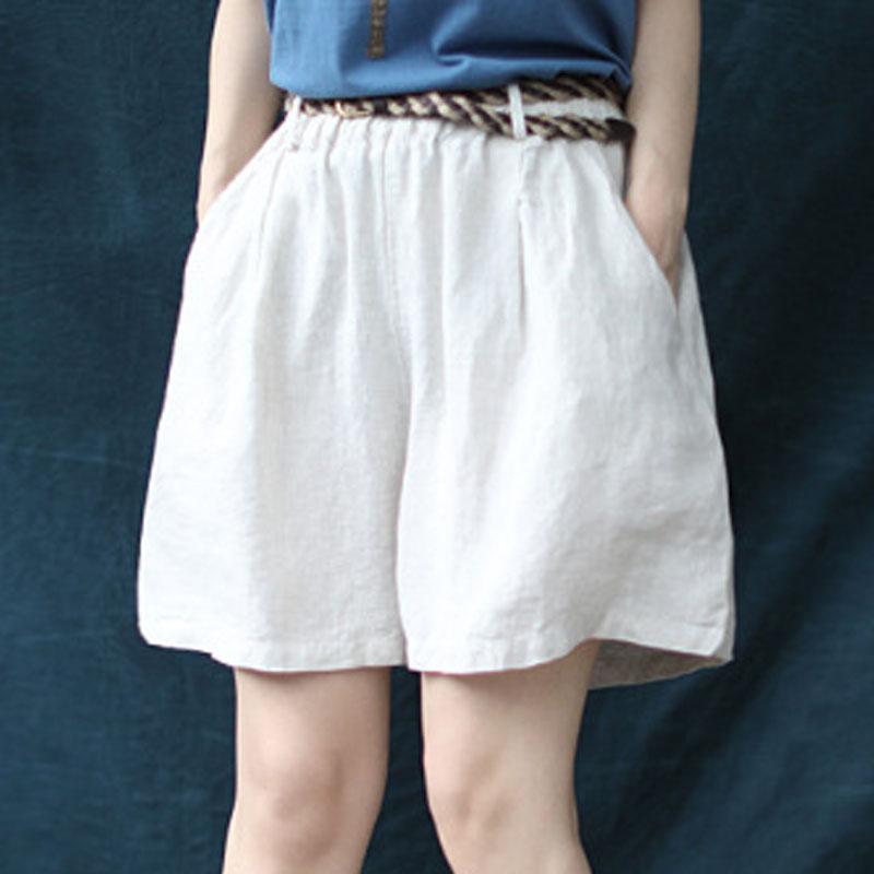 gros coréenne loisirs coton lin taille élastique large jambe Shorts 2020 Summer Nouveau Confortable Tout-Match 5 couleurs Shorts femme