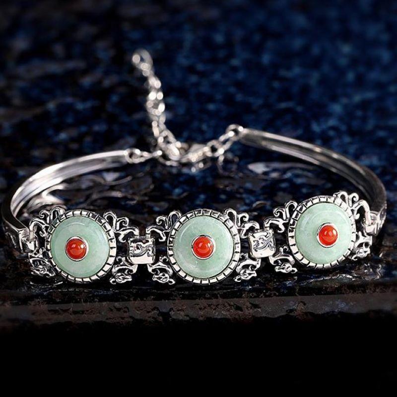 серебряный браслет Новый ТРЕНДЫ Vintage S925 Sterli с Gem оптовой продажи ювелирных изделий женщин ювелирных изделий подарок