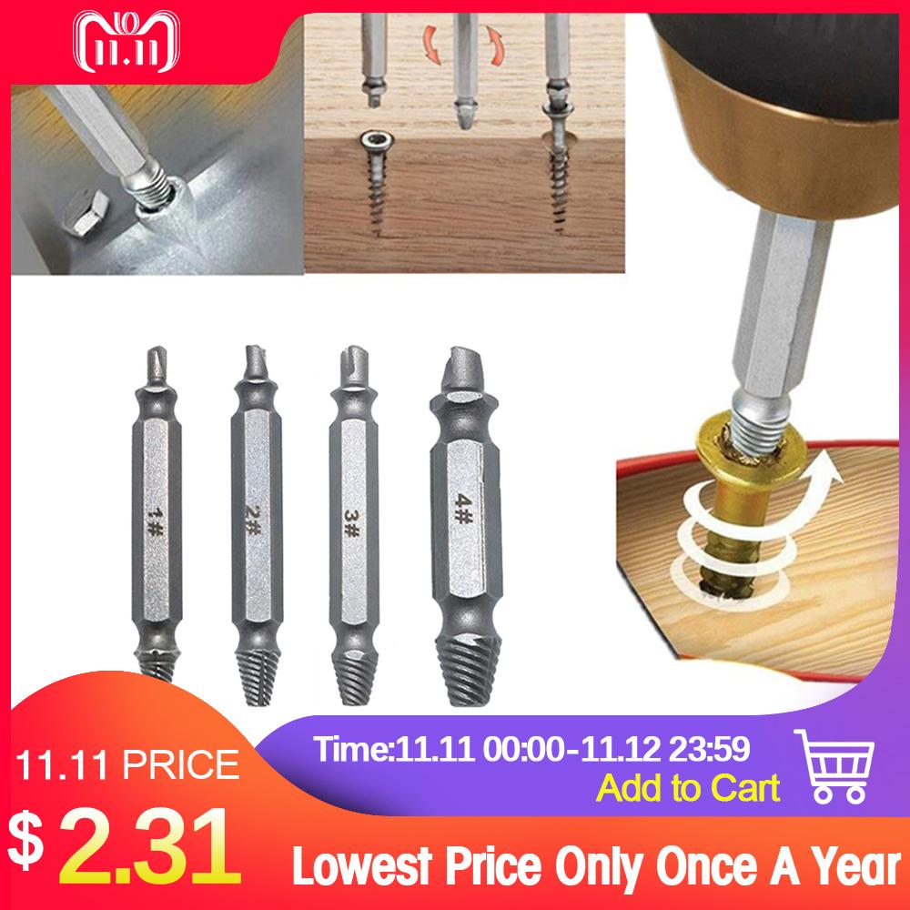 4pcs Screw Extractor Drill Bits Guide For Broken Damaged Bolt Remover Easy Out