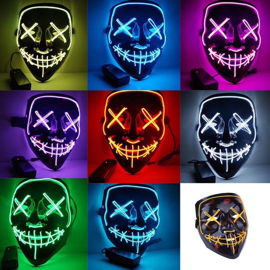LED de Halloween que brilla la luz Hasta la máscara máscaras del partido de Cosplay Las máscaras de purga año de la elección divertidos Gran Festival brillan en la oscuridad de vestuario de suministro