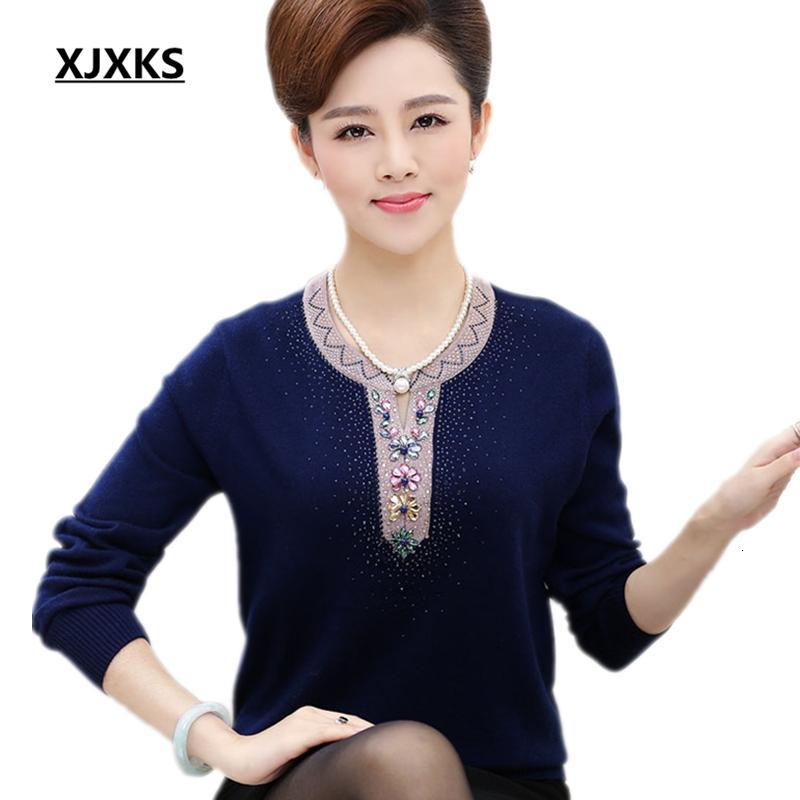 XJXKS 2019 nuevas mujeres suéter de otoño e invierno jersey de cachemir yardas grandes flojas de manga larga, más básica TopsMX191008 tamaño