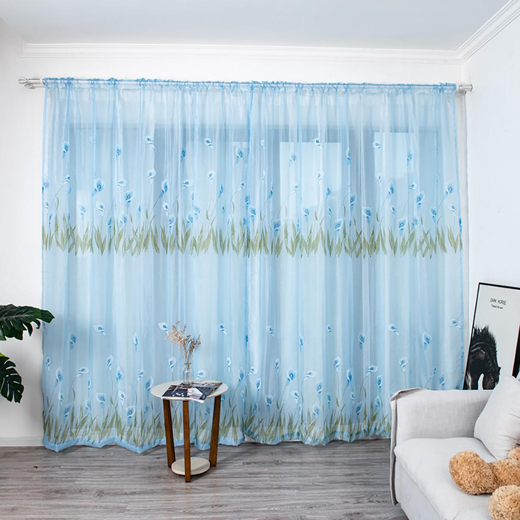 Multicolor Trumpet curtain Leaves Curtains Tulle Window Voile Drape Valance 1 Panel Fabric For Living Room Blackout Decoration#45