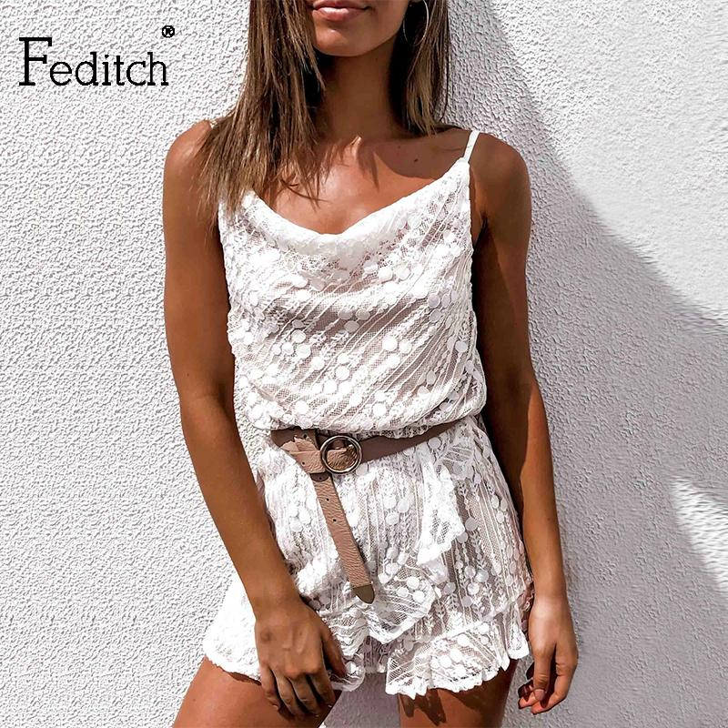 Feditch Backless Lace Jumpsuit Women Summer Playsuit hollow out Short Bodycon Rompers Women White Jumpsuit Beach Casual Overalls T200610